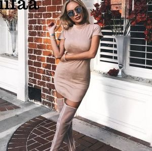 Mauve Faux Suede Fitted Dress